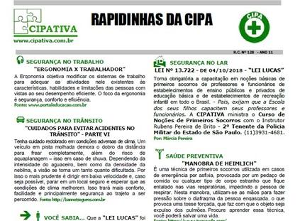 INFORMATIVO MENSAL - RAPIDINHAS DA CIPA
